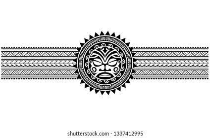 Polynesian tattoo border tribal sleeve pattern vector, samoan forearm and foot design, tiki maori bracelet armband tattoo tribal, band fabric seamless ornament isolated on white background