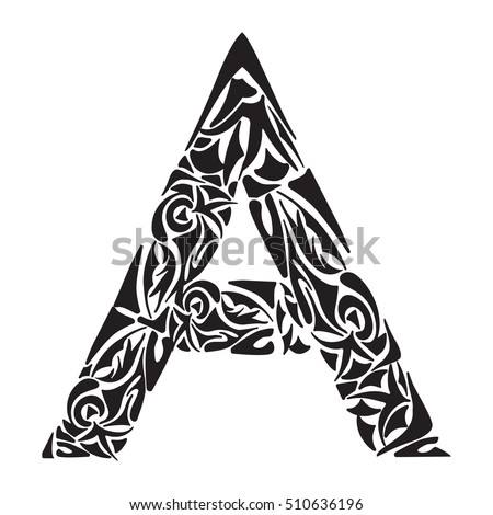 09f846aea71a Polynesian tattoo initials. Tribal Capital letter A. Vector illustration  for coloring page