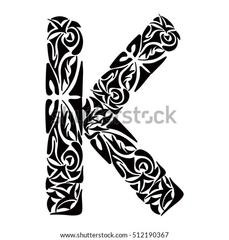 Polynesian Tattoo Initials Tribal Capital Letter Image Vectorielle