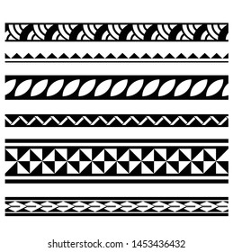 polynesian tattoo line pattern, tribal pattern tattoo, aboriginal samoan band, maori seamless art bracelets ornament, maori black and white texture border, ethnic ornament tribal band