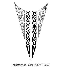 polynesian tattoo pattern neck design, maori tribal ornaments vector