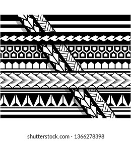 Polynesian tattoo sleeve pattern vector, samoan sketch forearm and foot design, maori stencil bracelet armband tattoo tribal, band fabric template seamless ornament isolated on white background