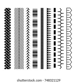Polynesian tattoo style brush vector design. Black border seamless line brushstroke template.