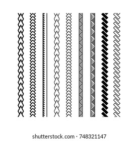 Polynesian tattoo style brush vector design. Black border line brushstroke.