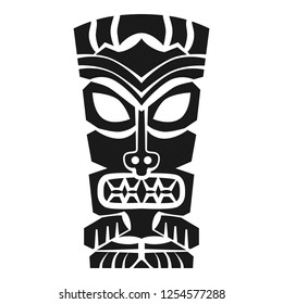Polynesian tiki mask vector icon. Simple illustration of polynesian tiki mask vector icon for web design isolated on white background