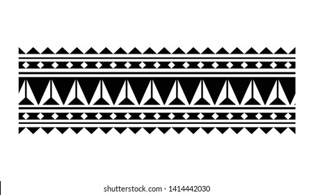 Polynesian tribal ornament isolated on white background