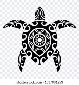 polynesian turtle tattoo, tribal design pattern, isolated vector shape
