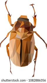 Polynomial may bug, Cockchafer illustration, dor-bug vector draw, low poly beetle, may bug from triangles