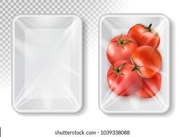 Polypropylene plastic packaging for vegetables - container on transparent background. Vector illustration