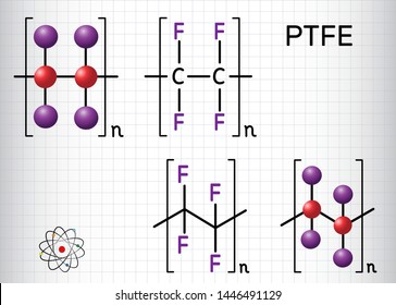 Polytetrafluoroethylene or PTFE polymer molecule. Is a synthetic fluoropolymer of tetrafluoroethylene. Structural chemical formula and molecule model. Sheet of paper in a cage. Vector illustration