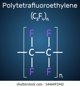 Polytetrafluoroethylene or PTFE polymer molecule. Is a synthetic fluoropolymer of tetrafluoroethylene. Structural chemical formula on the dark blue background. Sheet of paper in a cage.