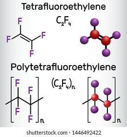 Polytetrafluoroethylene or PTFE polymer and Tetrafluoroethylene or TFE molecule. Structural chemical formula and molecule model. Vector illustration