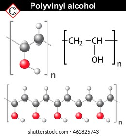 Polyvinyl alcohol polymer chemical structure, 2d and 3d illustration, vector on white background, eps 8