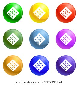 Polyvinyl chloride icons vector 9 color set isolated on white background for any web design