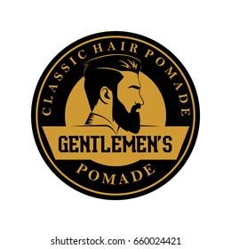 pomade hair man classic barber shop logo vector illustration