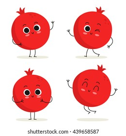 Pomegranate. Cute fruit vector character set isolated on white