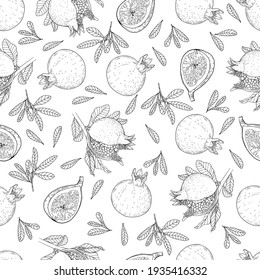 Pomegranate and fig fruits seamless pattern. Botanical vector image. Monochrome pattern for different surfaces.