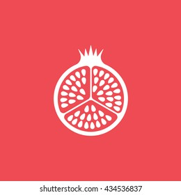 Pomegranate Flat Icon On Red Background
