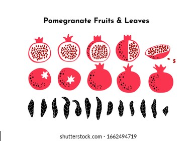 Pomegranate fruit bunde made of leaves, whole, cut and slice fruits and seeds. Vector drawing isolated on white. Simple cute  design. Great for card, poster, banner background. Botanical illustration.