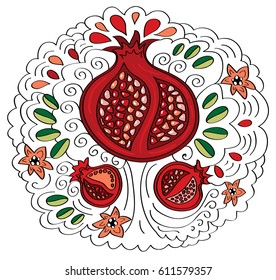 Pomegranate fruit, decorative drawing tree with leaves, flowers, spirals and drops. Vector design element.