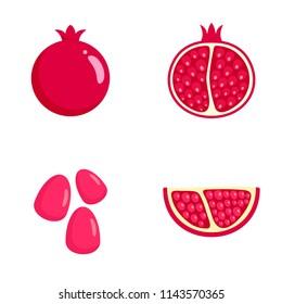Pomegranate juice seeds garnet icons set. Flat illustration of 4 pomegranate juice seeds garnet vector icons isolated on white