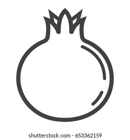 Pomegranate line icon, fruit and garnet, vector graphics, a linear pattern on a white background, eps 10.