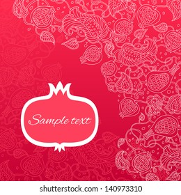 Pomegranate pattern vector card.