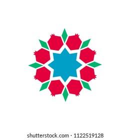 pomegranate pattern vector icon.