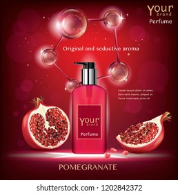 Pomegranate perfume ads, attractive fruit ingredients with cosmetic package on a red background with flying fruit elements, 3d illustration.