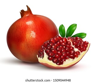 Pomegranate with a quarter of a fruit with burgundy seeds. Realistic illustration for advertising juice, cosmetics, spa. For design of products and cosmetics. Isolated on a white background. Vector