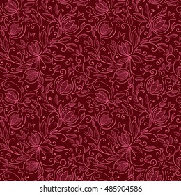 Pomegranate seamless pattern. Floral vector reapet background. Floral pattern with decorative pomegranate fruits and leaves. Vector illustration