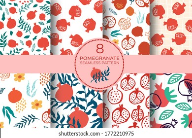 Pomegranate seamless pattern set with leaves, flower. Floral vector illustration of abstract doodle and scandinavian fruits. Garnet armenian pattern collection. The elegant template for fashion print.