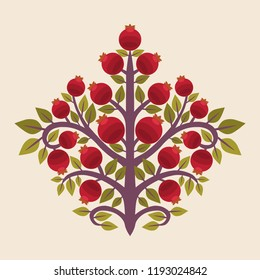 Pomegranate tree. Vector illustration in ethnic style