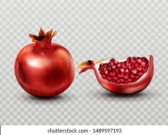 Pomegranate whole and quarter slice with seeds set isolated on transparent background, ripe garnet tropical fruit design element for natural juice advertising Realistic 3d vector illustration clip art