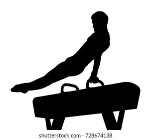 pomme horse male gymnast in gymnastics black silhouette