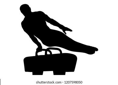 pommel horse male gymnast in artistic gymnastics