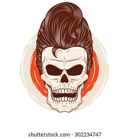 Pompadour Skull Head. a skull head with a cool hairstyle.