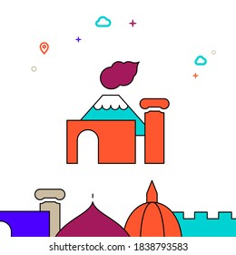 Pompeii, Italy filled line vector icon, simple illustration, world landmarks related bottom border.