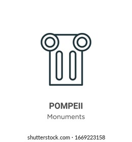 Pompeii outline vector icon. Thin line black pompeii icon, flat vector simple element illustration from editable monuments concept isolated stroke on white background