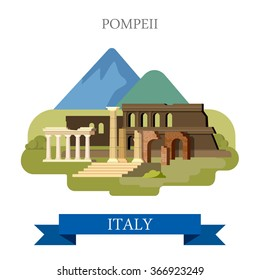 Pompeii Ruins in Italy. Flat cartoon style historic sight showplace point of interest web site vector illustration. Italian heritage. World countries cities vacation travel sightseeing collection.