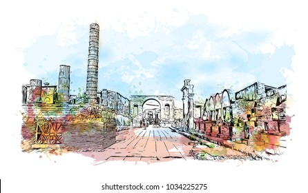 Pompeii is a vast archaeological site in southern Italy's Campania region, near the coast of the Bay of Naples. Watercolor splash with hand drawn sketch illustration in vector.