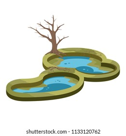 Pond Swamp Wetland and Tree Nature Landscape Vector