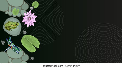 Pond whith frog, dragonfly, pebbles, stones, bubbles and lotus leaves background. Concept vector poster design. Hand drawn vector illustration.