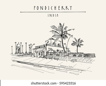 Pondicherry (Puducherry), India. Beach promenade, palm trees, old French cafe, Gandhi statue. Artistic drawing, travel sketch. Vintage hand drawn postcard, poster template. Vector illustration