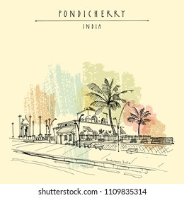 Pondicherry (Puducherry), India. Quay, beach promenade, palm trees, old French cafe, Gandhi statue. Travel sketch. Vintage hand drawn postcard, poster. Vector illustration
