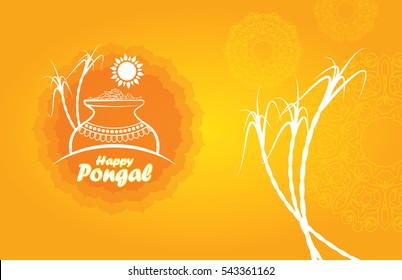 Pongal Design Template with Rice Mud Sugarcane and Sun in Abstract Yellow Background, South Indian Festival Happy Pongal Template