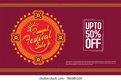 Pongal Festival Sale Template Design - Indian Religion Festival Pongal Background Template Vector Illustration