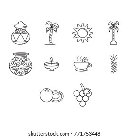 pongal icon set outline
