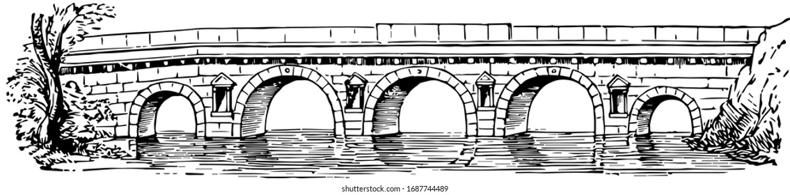 Pons Ariminum is the Greek bridges were built entirely of wood, bridge and castle, city in Italy and the municipality, vintage line drawing or engraving illustration.