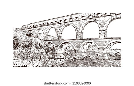 The Pont du Gard is an ancient Roman aqueduct that crosses the Gardon River near the town of Vers-Pont-du-Gard in southern France. Hand drawn sketch illustration in vector.